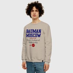 Свитшот хлопковый мужской Bauman STU цвета миндальный — фото 2