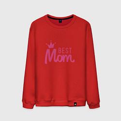 Свитшот хлопковый мужской Best Mom цвета красный — фото 1