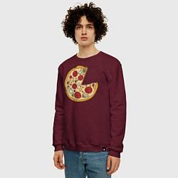 Свитшот хлопковый мужской Пицца парная цвета меланж-бордовый — фото 2