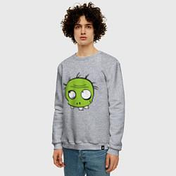 Свитшот хлопковый мужской Zombie (plant) цвета меланж — фото 2
