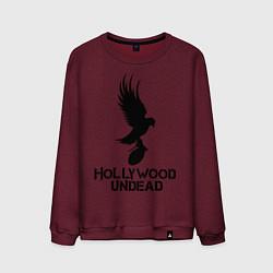 Свитшот хлопковый мужской Hollywood Undead цвета меланж-бордовый — фото 1