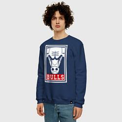 Свитшот хлопковый мужской Red Bulls цвета тёмно-синий — фото 2