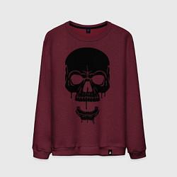 Свитшот хлопковый мужской Злобный череп цвета меланж-бордовый — фото 1