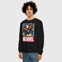 Свитшот хлопковый мужской Iron Man: Mark III цвета черный — фото 2