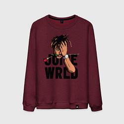 Свитшот хлопковый мужской Juice WRLD цвета меланж-бордовый — фото 1