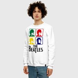 Свитшот хлопковый мужской The Beatles: Colors цвета белый — фото 2