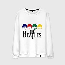 Свитшот хлопковый мужской The Beatles Heads цвета белый — фото 1