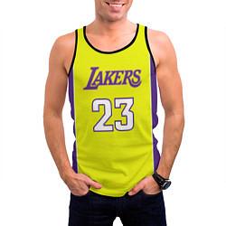 Майка-безрукавка мужская NBA Lakers 23 цвета 3D-черный — фото 2