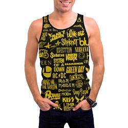 Майка-безрукавка мужская Логотипы рок групп GOLD цвета 3D-черный — фото 2