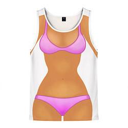 Майка-безрукавка мужская Tanned body цвета 3D-белый — фото 1
