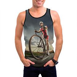 Майка-безрукавка мужская Велогонщик цвета 3D-черный — фото 2