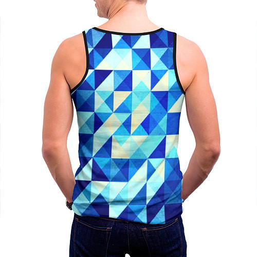 Мужская майка без рукавов Синяя геометрия / 3D-Черный – фото 4