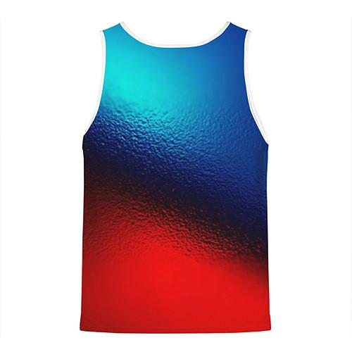 Мужская майка без рукавов Синий и красный / 3D-Белый – фото 2