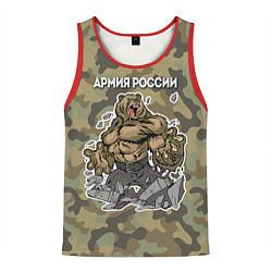 Майка-безрукавка мужская Армия России: ярость медведя цвета 3D-красный — фото 1