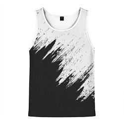Майка-безрукавка мужская Черно-белый разрыв цвета 3D-белый — фото 1