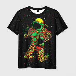 Футболка мужская Космонавт с кальяном цвета 3D-принт — фото 1