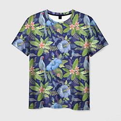 Мужская 3D-футболка с принтом Голубые попугаи, цвет: 3D, артикул: 10065279503301 — фото 1