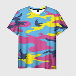 Футболка мужская Камуфляж: голубой/розовый/желтый цвета 3D — фото 1