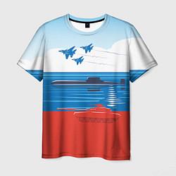 Футболка мужская Россия: Триколор армии цвета 3D — фото 1