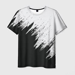 Футболка мужская Черно-белый разрыв цвета 3D-принт — фото 1