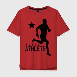 Мужская удлиненная футболка с принтом Лёгкая атлетика, цвет: красный, артикул: 10010562105753 — фото 1