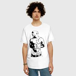 Мужская удлиненная футболка с принтом 2pac, цвет: белый, артикул: 10010672505753 — фото 2