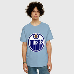 Футболка оверсайз мужская Edmonton Oilers цвета мягкое небо — фото 2