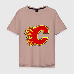 Футболка оверсайз мужская Calgary Flames цвета пыльно-розовый — фото 1