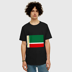 Футболка оверсайз мужская Чечня: флаг цвета черный — фото 2