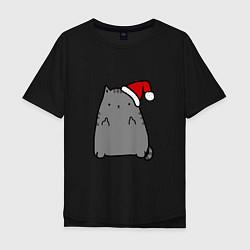 Мужская футболка оверсайз New Year Kitty FCK
