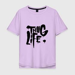 Мужская удлиненная футболка с принтом Thug Life, цвет: лаванда, артикул: 10145997905753 — фото 1