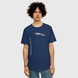 Футболка оверсайз мужская Jaguar Motors цвета тёмно-синий — фото 2