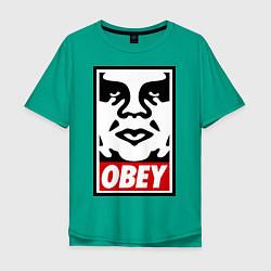 Футболка оверсайз мужская OBEY Face цвета зеленый — фото 1