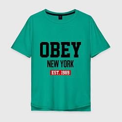 Футболка оверсайз мужская Obey Est. 1989 цвета зеленый — фото 1