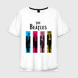 Футболка оверсайз мужская Walking Beatles цвета белый — фото 1