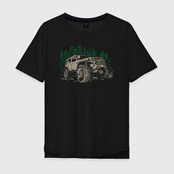 Мужская удлиненная футболка с принтом Джип, цвет: черный, артикул: 10165465705753 — фото 1