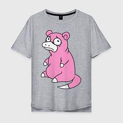 Мужская удлиненная футболка с принтом Грустный слоупок, цвет: меланж, артикул: 10016899405753 — фото 1