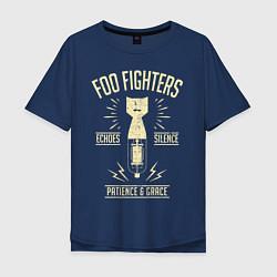 Футболка оверсайз мужская Foo Fighters: Patience & Grace цвета тёмно-синий — фото 1