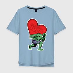 Футболка оверсайз мужская Hulk Heart цвета мягкое небо — фото 1