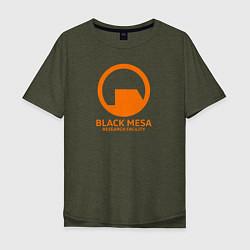 Мужская удлиненная футболка с принтом Black Mesa: Research Facility, цвет: меланж-хаки, артикул: 10173884105753 — фото 1