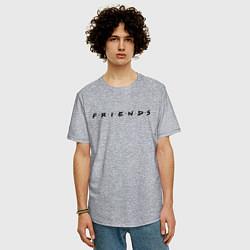 Футболка оверсайз мужская Logo Friends цвета меланж — фото 2