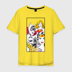 Футболка оверсайз мужская Justice League superheroines цвета желтый — фото 1