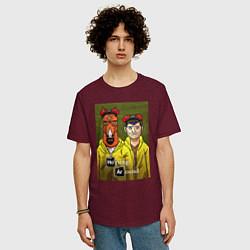 Футболка оверсайз мужская BoJack Horseman цвета меланж-бордовый — фото 2