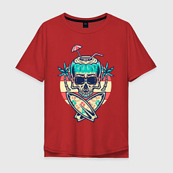 Футболка оверсайз мужская Skull Summer цвета красный — фото 1