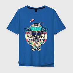 Футболка оверсайз мужская Skull Summer цвета синий — фото 1