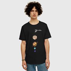 Футболка оверсайз мужская Parade of planets цвета черный — фото 2
