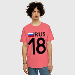 Футболка оверсайз мужская RUS 18 цвета коралловый — фото 2
