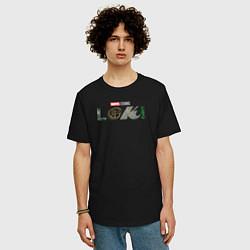 Футболка оверсайз мужская Локи Marvel белый лого цвета черный — фото 2
