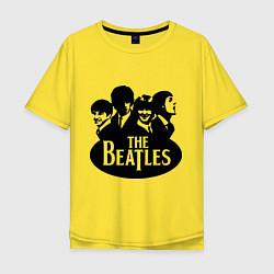 Футболка оверсайз мужская The Beatles Band цвета желтый — фото 1