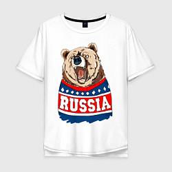 Футболка оверсайз мужская Made in Russia: медведь цвета белый — фото 1